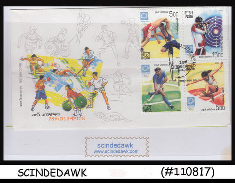 INDIA - 2004 28th OLYMPIC GAMES ATHENS - 4V SE-TENANT - FDC