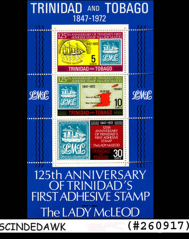TRINIDAD AND TOBAGO - 1972 125th Anniversary of First ADHESIVE STAMP Min.sht MNH