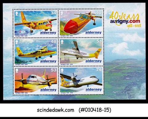 ALDERNEY - 2008 40 YEARS OF AURIGNY AIR SERVICE / AVIATION - MIN. SHEET MNH
