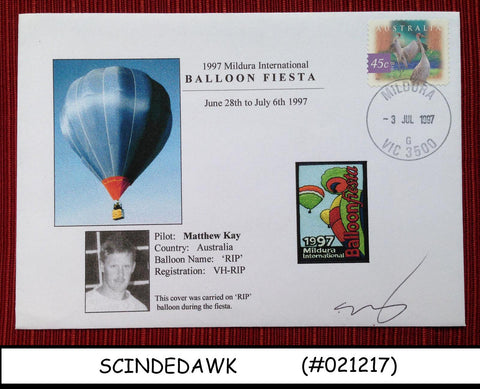 AUSTRALIA - 1997 SPECIAL COVER CARRIED ON BALLOON DURING FIESTA WITH CANCEL.