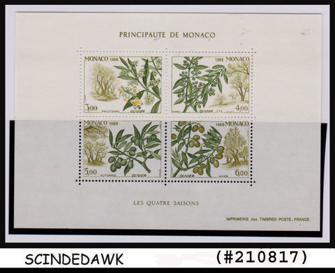 MONACO - 1988 FOUR SEASONS / OLIVE TREE - Miniature sheet MINT NH