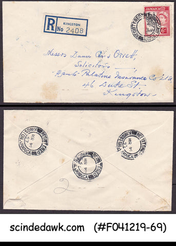 JAMAICA - 1957 REGISTERED COVER TO KINGSTON WITH QEII STAMP