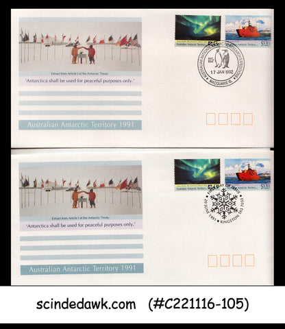 AUSTRALIAN ANTARCTIC TERRRITORY - 1991 AURORA - FDC WITH ALL DIFFERENT CANCL.