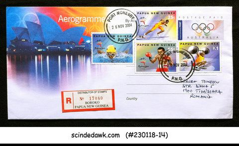 AUSTRALIA - 2004 OLYMPIC AEROGRAMME TO ROMANIA WITH PAPUA NEW GUINEA STAMPS