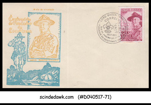 BRAZIL - 1957 100th BIRTHDAY OF LORD BADEN POWELL / BOY SCOUTS - FDC