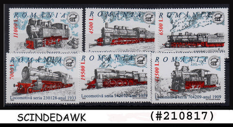 ROMANIA - 2002 STEAM LOCOMOTIVES / RAILWAY / TRAINS 6V - MNH