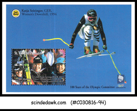 ST.VINCENT& GRENADINES - 1994 OLYMPICS MEDALISTS-WOMEN'S DOWNHILL MINISHEET MNH