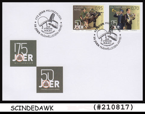 LUXEMBOURG - 2017 50yrs OF VOLUNTARY SERVICE ON MILITARY BAND MUSIC 2V FDC
