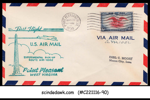 USA - 1939 U.S. AIRMAIL POINT PLEASANT Experimental Pick-up FIRST FLIGHT COVER