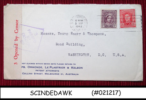AUSTRALIA - 1943 ENVELOPE TO U.S.A. WITH KGVI STAMPS - CENSORED