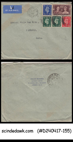 GREAT BRITAIN - 1937 ENV. TO PESHWAR INDIA TIED WITH CORONATION & 4 OTHER STAMPS
