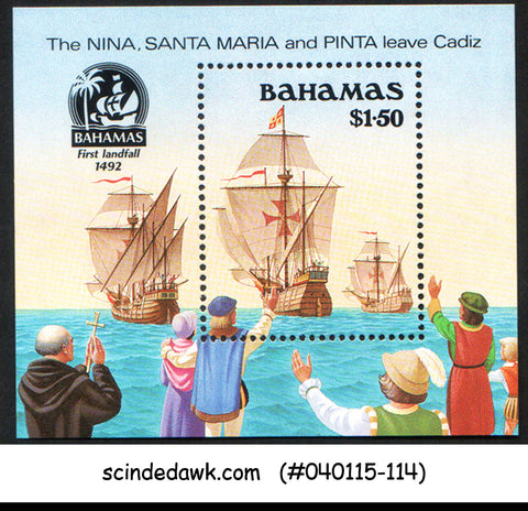 BAHAMAS - 1990 DISCOVERY OF AMERICA / SHIPS - MIN. SHEET MINT NH