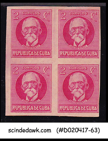 CUBA - 1917-18 2c rose MAXIMO GOMEZ SCOTT#265 - BLK OF 4 - UNUSED IMPERF