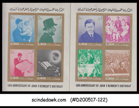 AJMAN - 1967 JOHN F KENNEDY 50th Birthday - SET OF 2 MIN/SHT MNH IMPERF