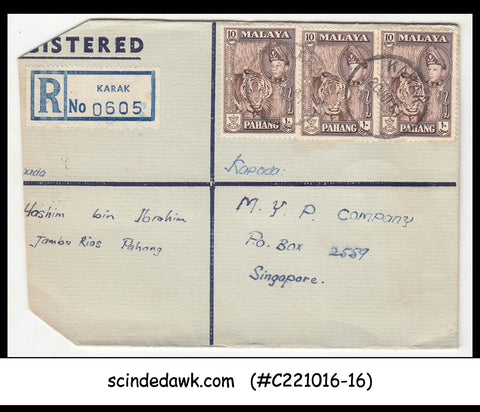MALAYA PAHANG - 1961 REGISTERED envelope to SINGAPORE with STAMPS
