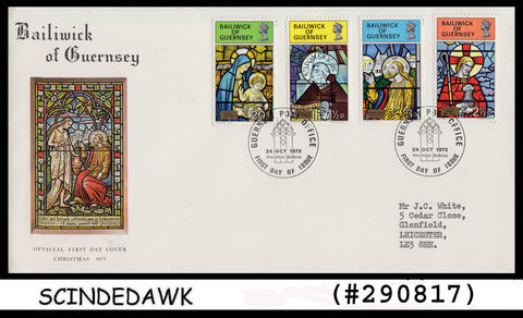 BAILIWICK OF GUERNSEY - 1973 CHRISTMAS - 4V - FDC