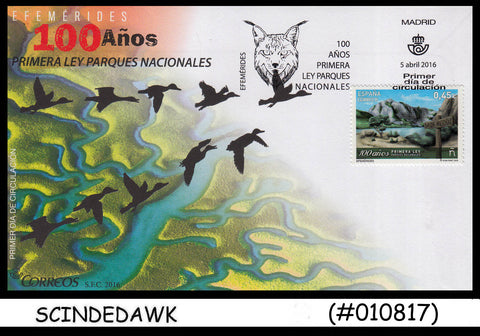 SPAIN - 2016 100 years of First Law on National Park - FDC