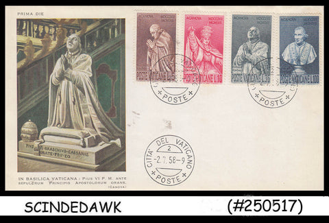 VATICAN CITY - 1958 Bicentenary of the birth of Antonio Canova - 4V FDC
