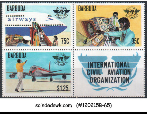BARBUDA - 1979 INTERNATIONAL CIVIL AVIATION ORGANIZATION SE-TENANT X 3 MNH