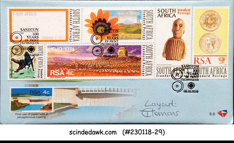 SOUTH AFRICA - 2010 100yrs OF PRINT TECHNIQUES  COVER WITH CANCL.