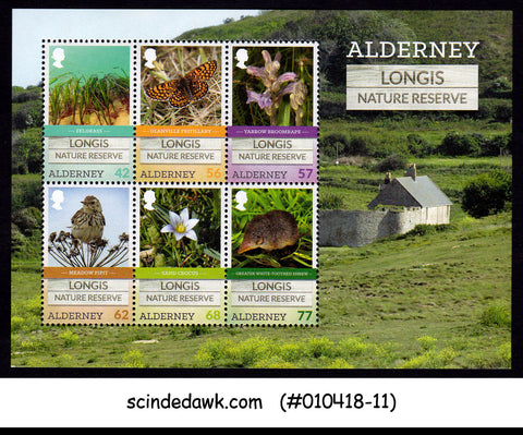 ALDERNEY - 2016 LONGIS NATURE RESERVE / BIRDS FLOWER ANIMALS - MIN/SHT MNH