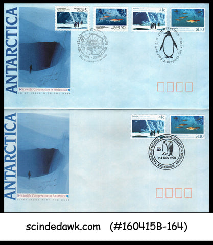 AUSTRALIA RUSSIA JOINT ISSUE 1990 SCIENTIFIC COOPERATION IN ANTARCTIC - FDC 2nos