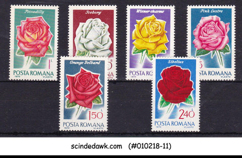 ROMANIA - 1970 ROSES / FLOWERS - 6V - MINT NH