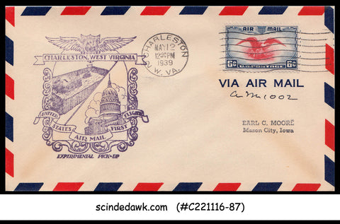 USA - 1939 U.S. AIRMAIL CHARLESTON Experimental Pick-up FIRST FLIGHT COVER