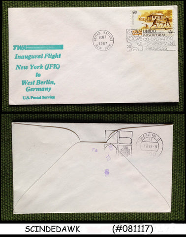 UNITED NATIONS UNO 1987 TWA FLIGHT NEW YORK to WEST BERLIN - FIRST FLIGHT COVER
