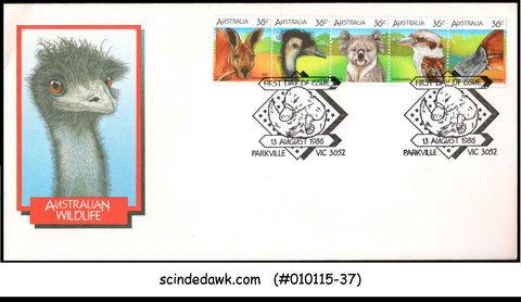AUSTRALIA - 1986 AUSTRALIAN WILDLIFE / ANIMALS - 5V - FDC