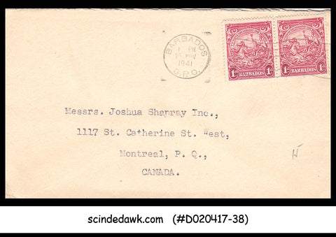 BARBADOS - 1941 envelope to CANADA with Vintage stamps