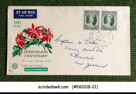 AUSTRALIA - 1960 QUEENSLAND CENTENARY - 2V PAIR - FDC