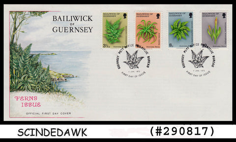 BAILIWICK OF GUERNSEY - 1975 FERNS ISSUE / PLANTS - 4V - FDC