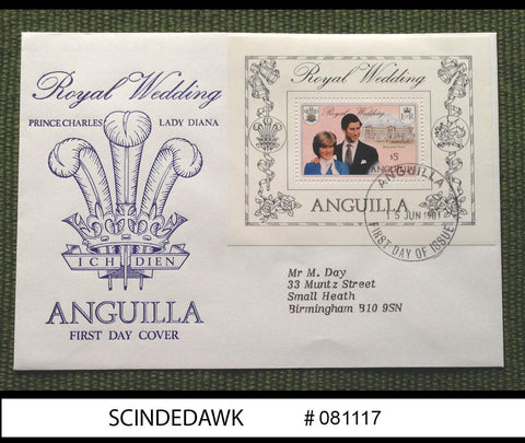 ANGUILLA - 1981 ROYAL WEDDING OF PRINCE CHARLES AND LADY DIANA - M/S - FDC