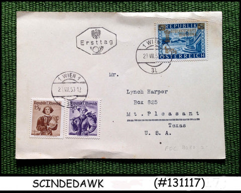 AUSTRIA - 1953 POSTCARD TO USA WITH STAMPS