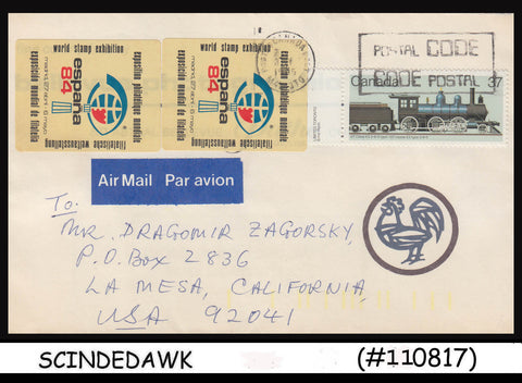 CANADA - 1985 AIR MAIL Envelope to USA with RAILWAY Stamps