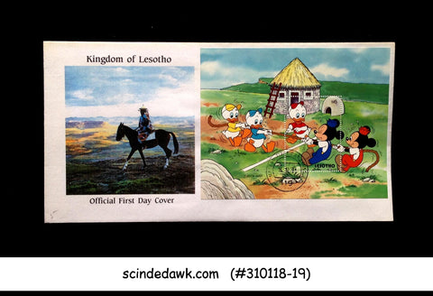 LESOTHO - 1991 DISNEY MICKEY & DONALD PLAY GAMES - MIN/SHT - FDC