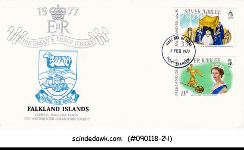 FALKLAND ISLANDS - 1977 SILVER JUBILEE OF QEII CORONATION - 2V - FDC