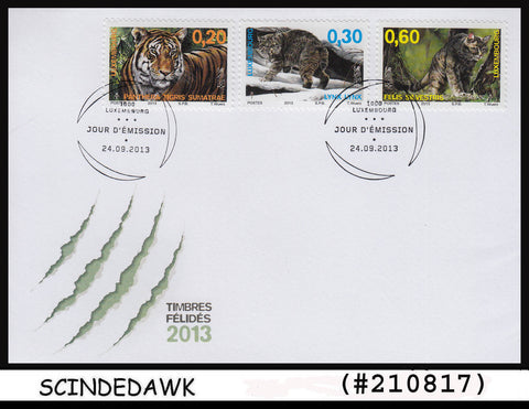 LUXEMBOURG - 2013 WILD ANIMALS / BIG WILD CATS / TIGERS - 3V FDC