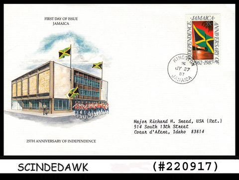 JAMAICA - 1987 25th ANNIVERSARY OF INDEPENDENCE -FLAG - FDC