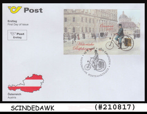 AUSTRIA - 2016 HISTORIC MAIL VEHICLES / CYCLE - Min/sht - FDC