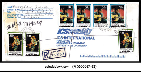 JAMAICA - 1997 REGISTERED Envelope to U.S.A. with BOB MARLEY stamps
