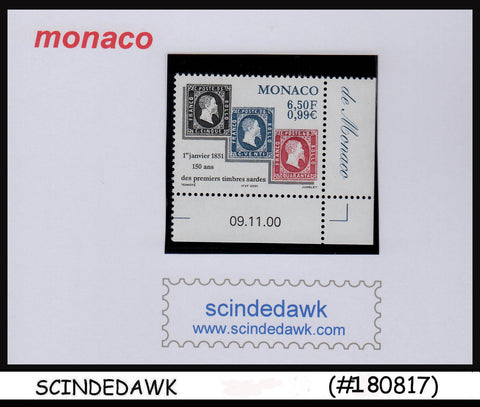 MONACO - 2000 150th Anni of the 1st stamp of Sardinia 1V MNH