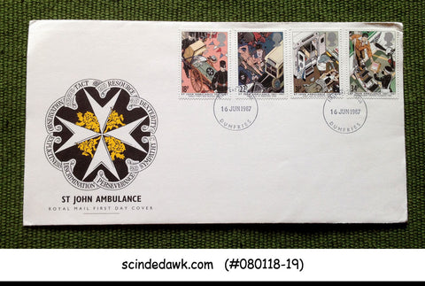 GREAT BRITAIN - 1987 100 YEARS OF ST. JOHN AMBULANCE - 4V - FDC
