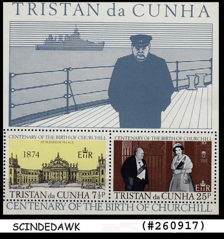 TRISTAN DA CUNHA - 1974 BIRTH CENTENARY OF WINSTON CHURCHILL Min.sht MNH