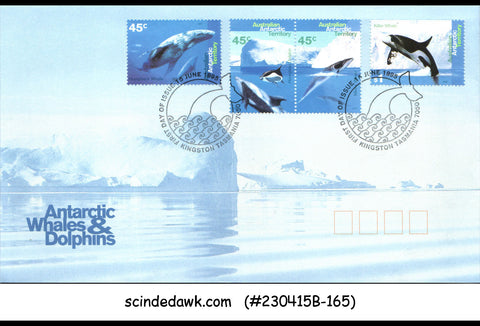 AUSTRALIAN ANTARCTIC TERRITORY 1995 ANTARCTIC WHALES & DOLPHINS - 4V FDC