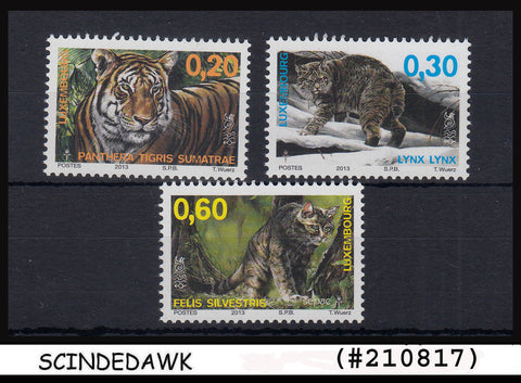 LUXEMBOURG - 2013 WILD ANIMALS / BIG WILD CATS / TIGERS - 3V MNH