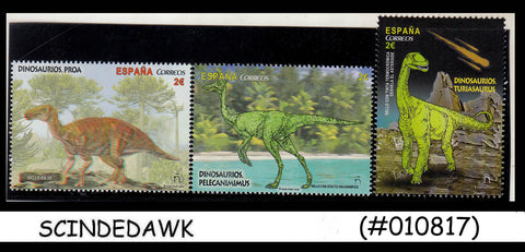 SPAIN - 2016 DINOSAURS / REPTILES PREHISTORIC ANIMALS - 3V - MINT NH