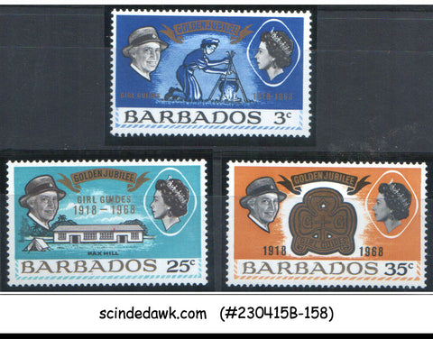 BARBADOS - 1968 GOLDEN JUBILEE GIRLS GUIDE - 3V - MINT NH