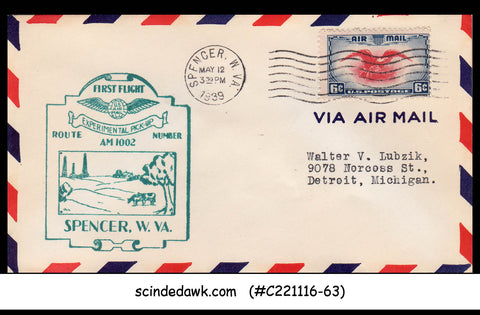 USA 1939 U.S. AIRMAIL SPENCER to DETROIT Experimental Pick-up FIRST FLIGHT COVER
